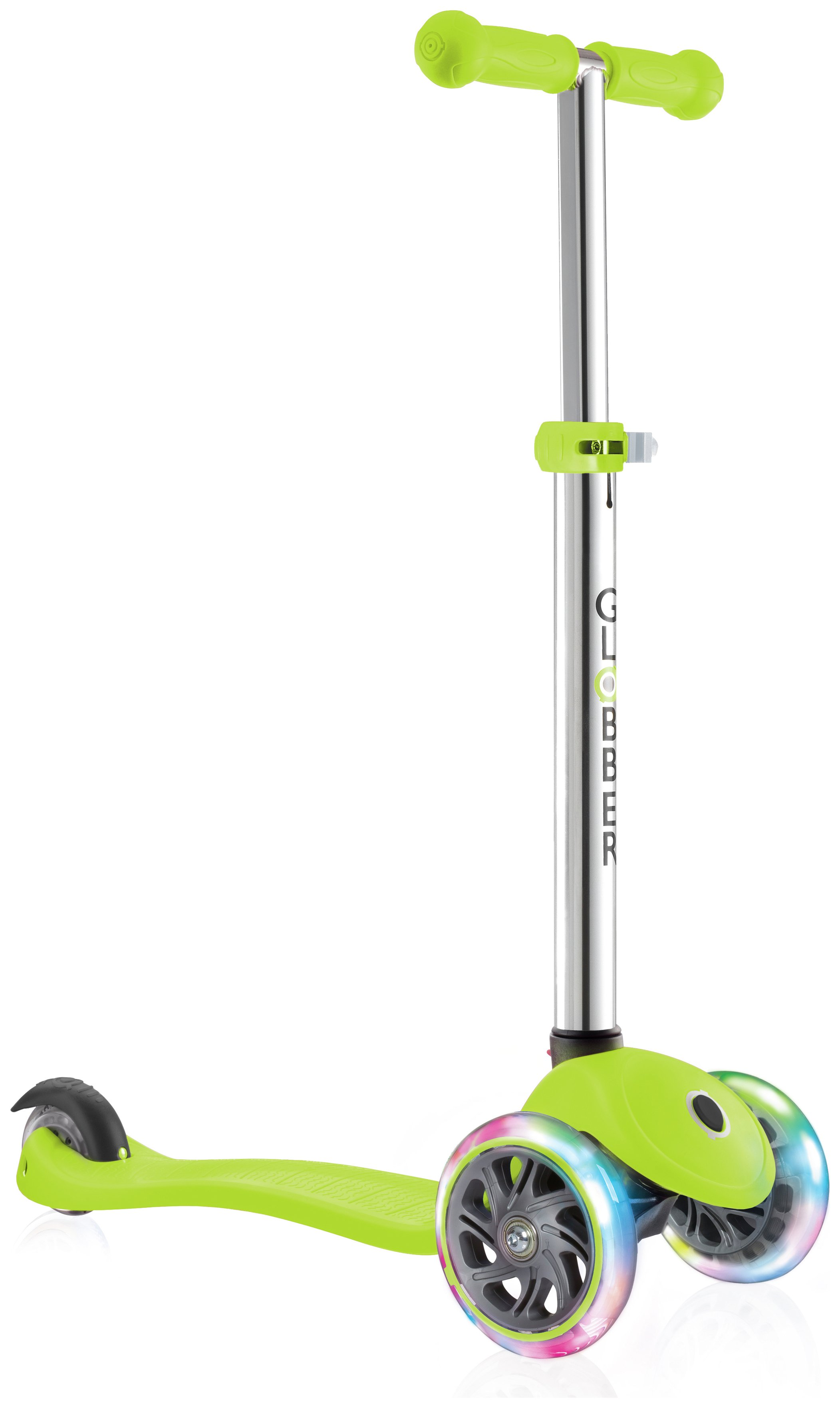 Globber Primo Lights 3 Wheel Scooter - Lime Green