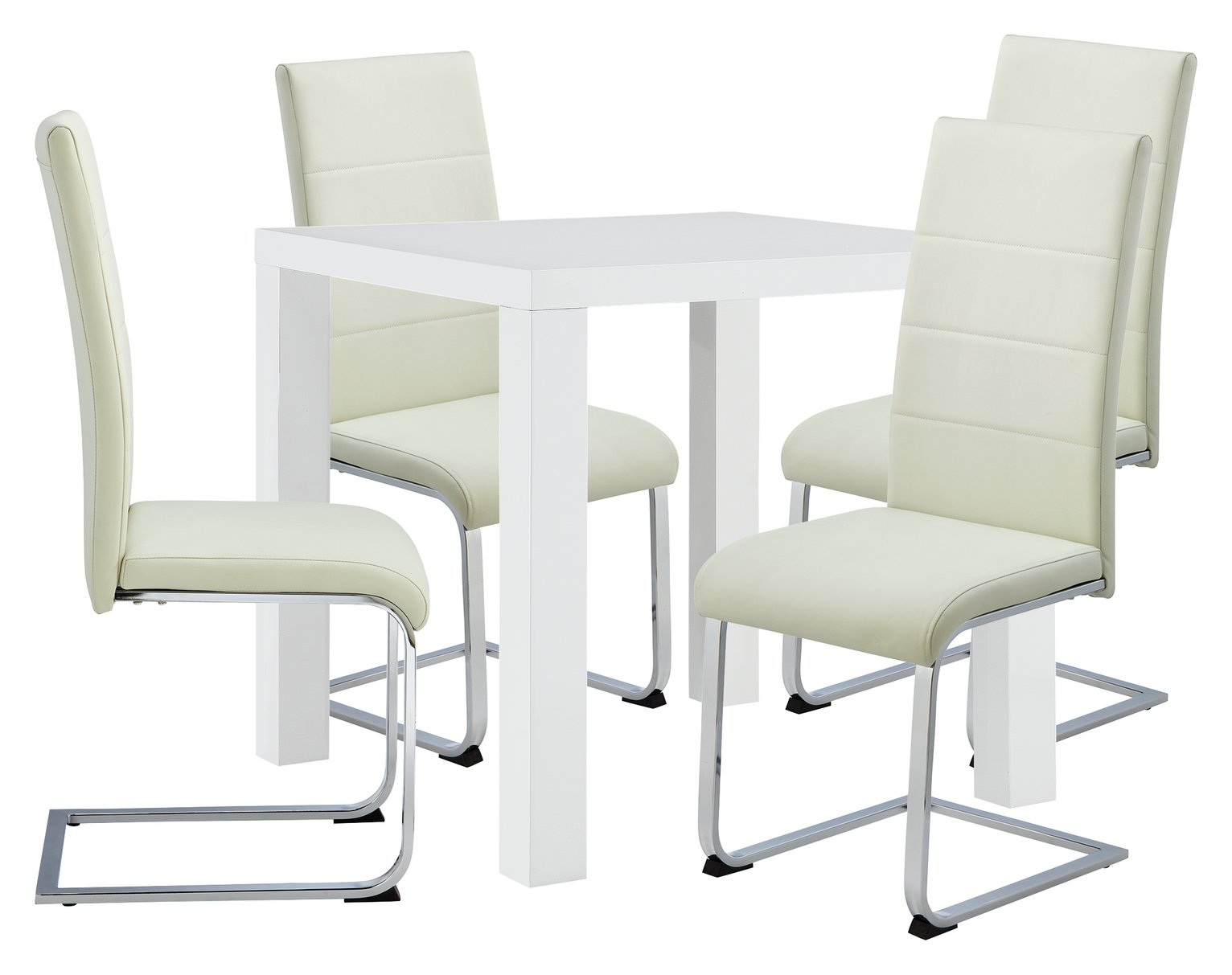 Image of Hygena Lyssa Dining Table & 4 Chairs - White