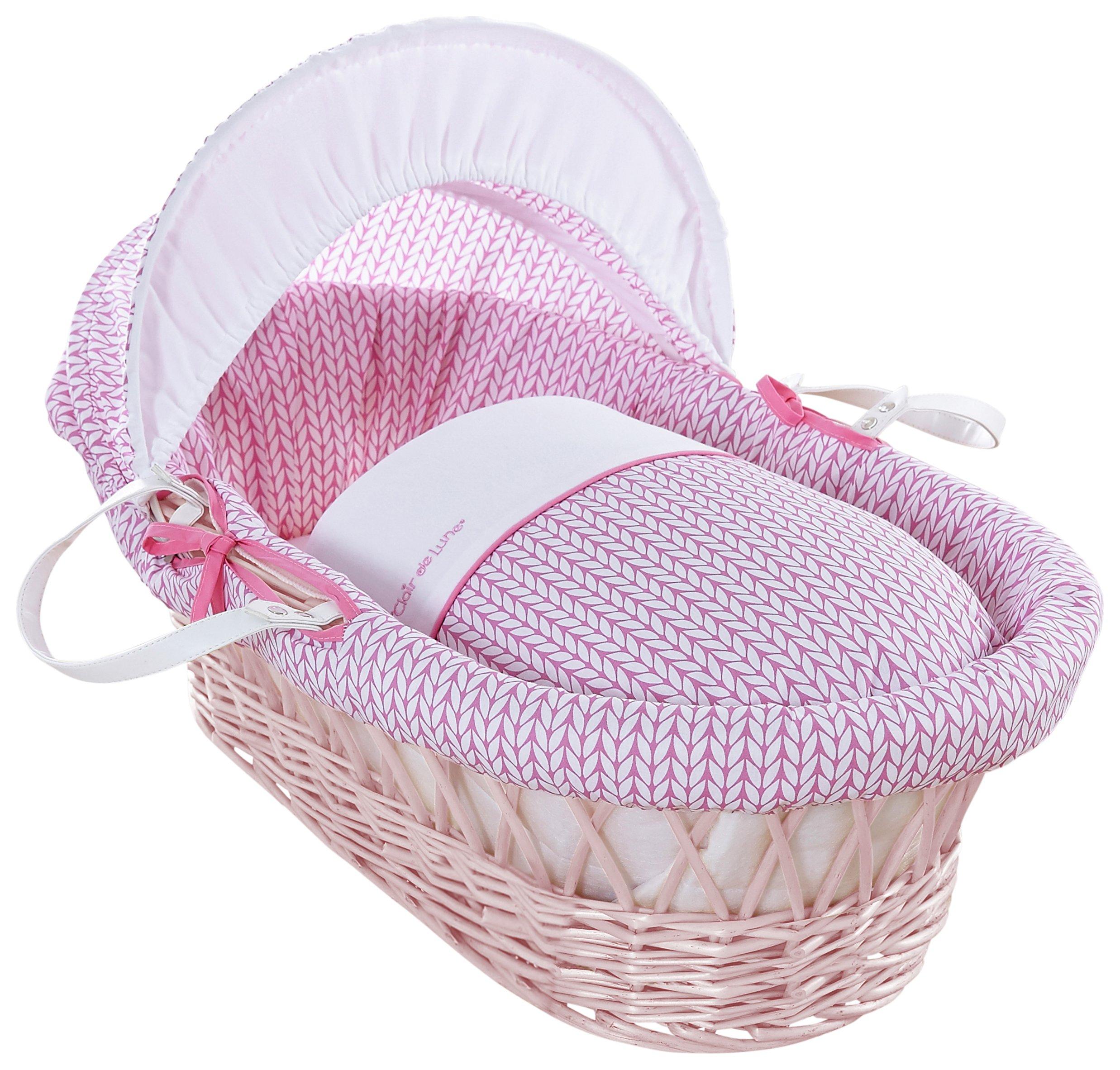 Image of Clair de Lune Pink Barley B??b?? Pink Wicker Moses Basket