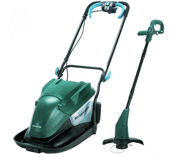 McGregor 33cm Corded Hover Lawnmower 1500W and Trimmer 320W