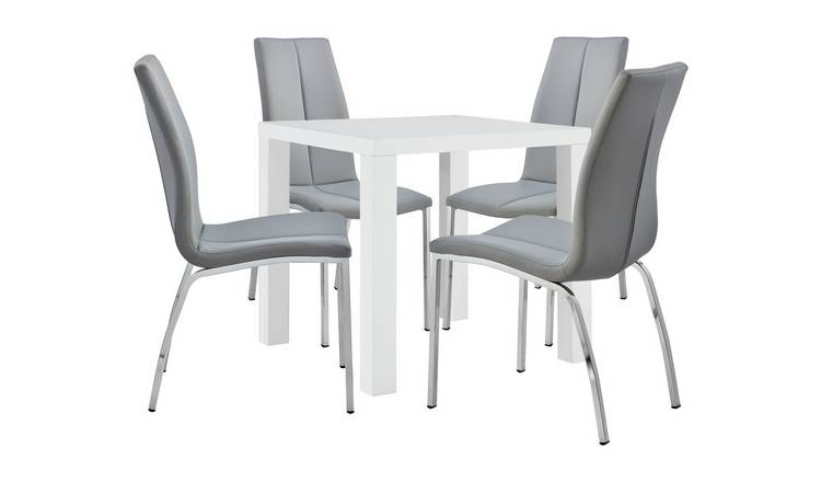 Admirable Buy Argos Home Lyssa White Gloss Table 4 Grey Milo Chairs Dining Table And Chair Sets Argos Short Links Chair Design For Home Short Linksinfo