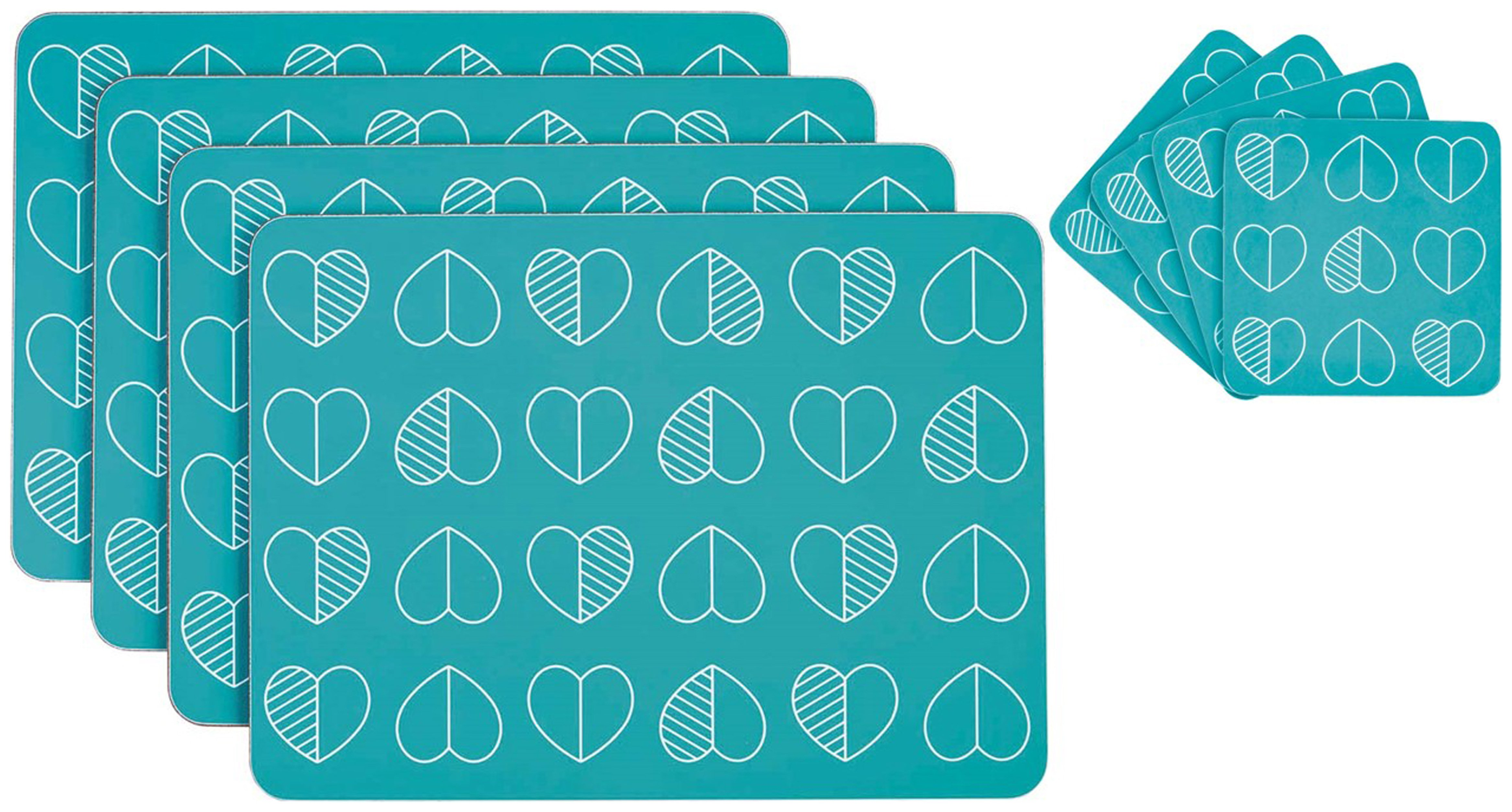 Image of Beau and Elliot Set of 4 Placemats and Coasters - Teal.