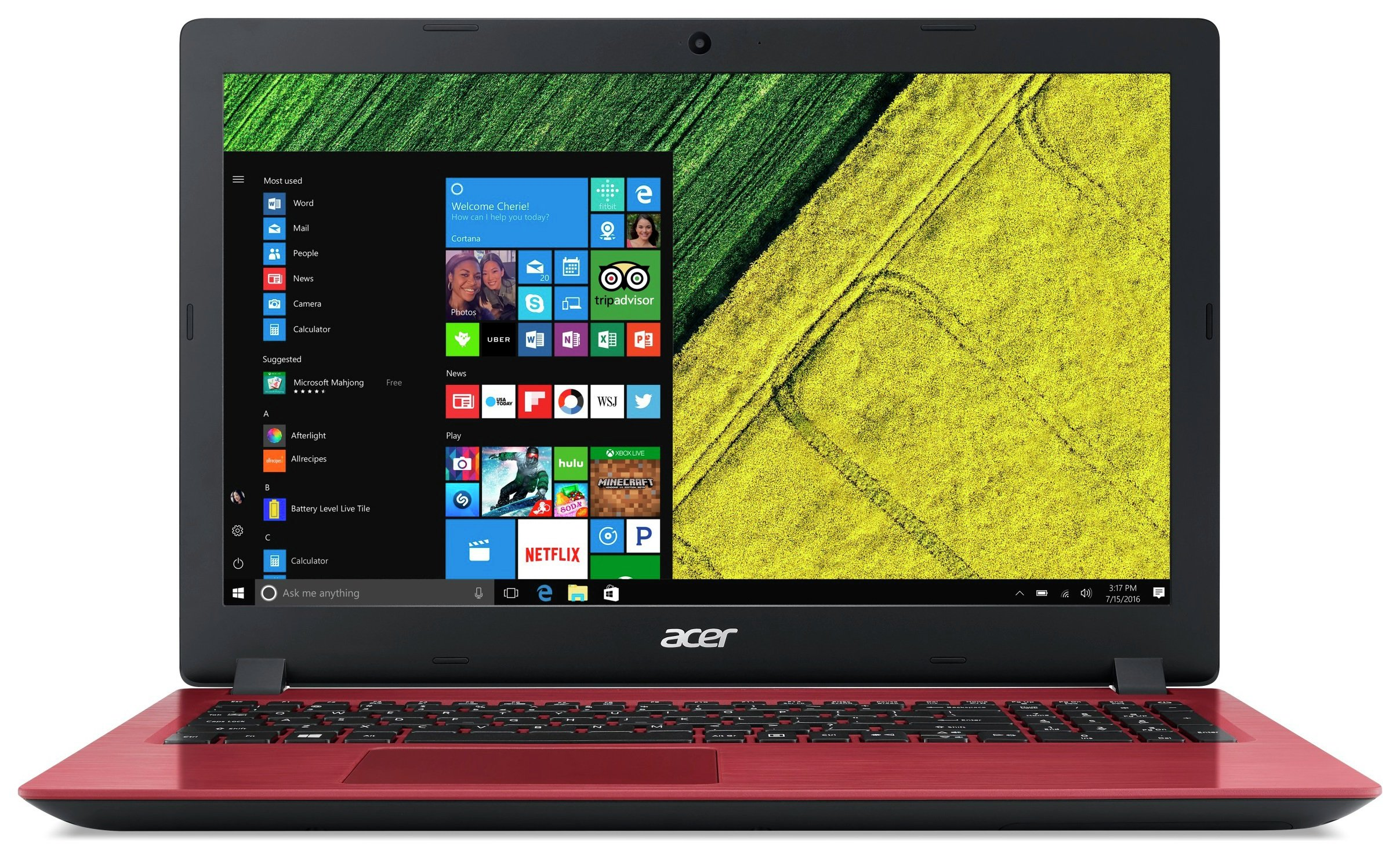 Image of Acer 15.6 Inch i3 4GB 128GB Laptop - Red