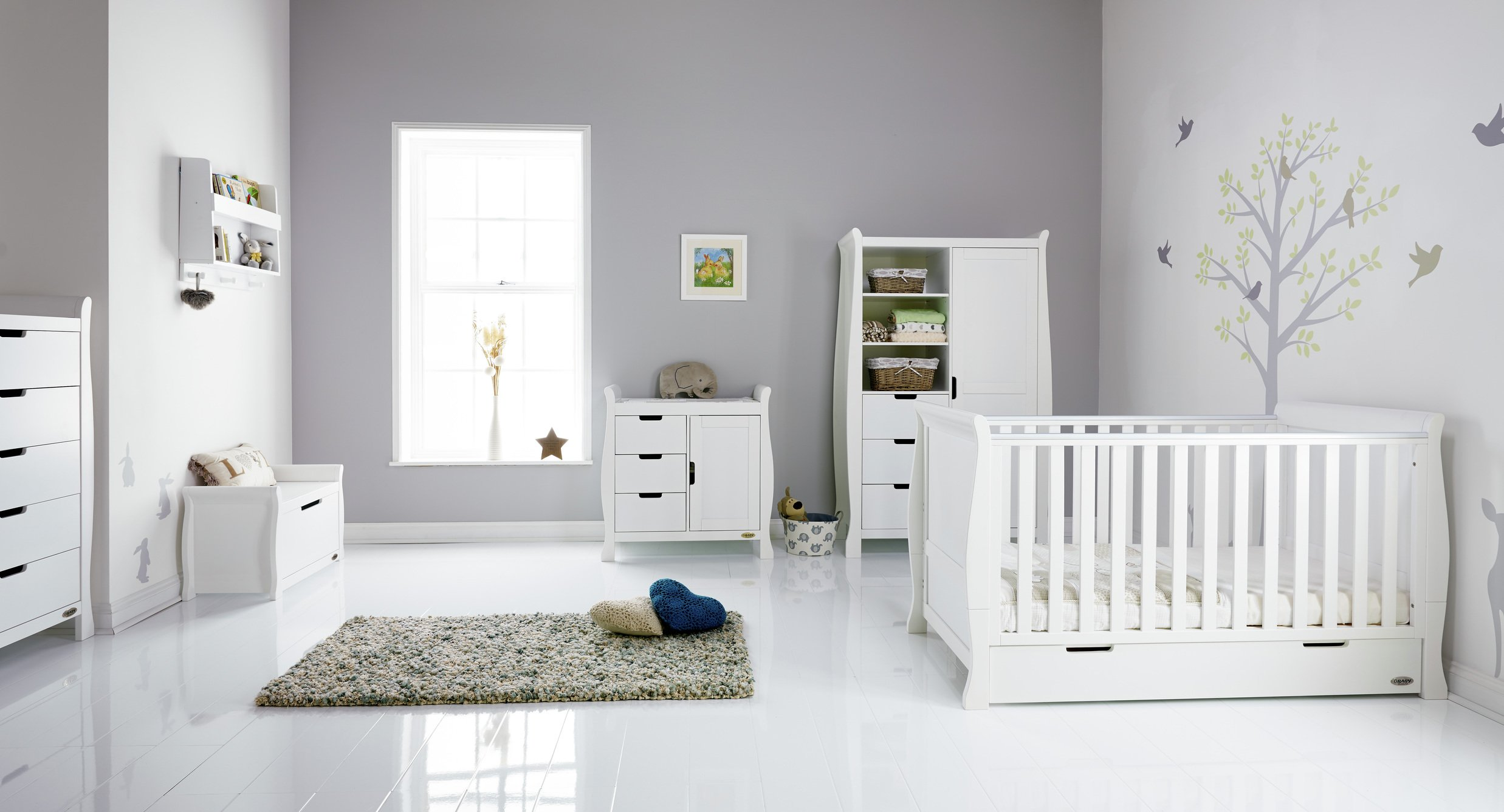 Image of Obaby Stamford Sleigh 5 Piece Room Set - White