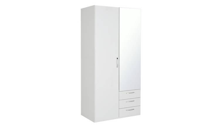 Argos Home Hallingford Gloss 2Dr 3Drw Mirror Wardrobe -White