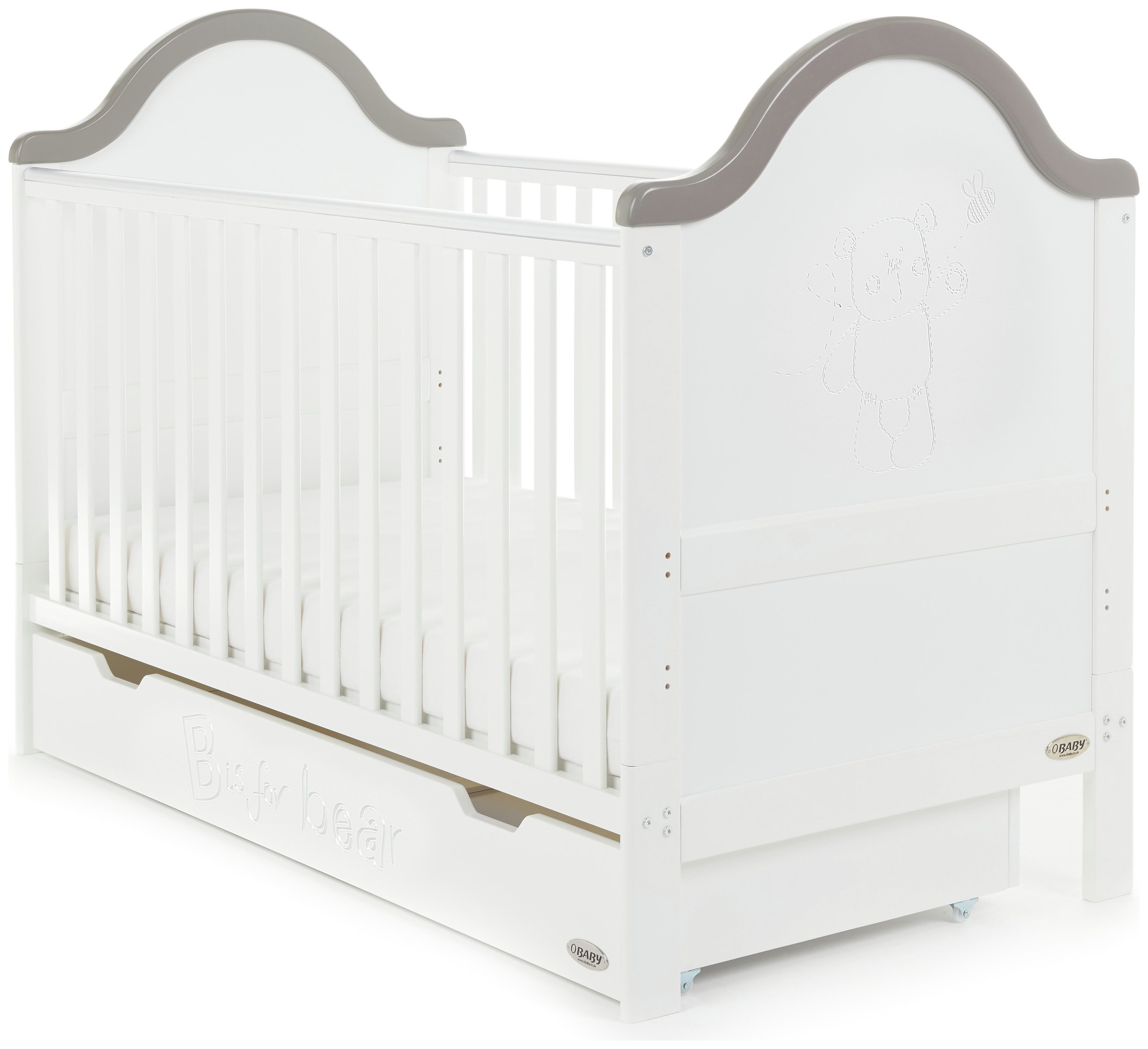 obaby b is for bear cot bed and under drawer  white with grey