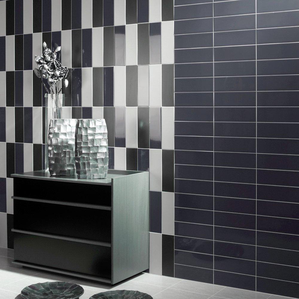 Image of Grey Gloss Ceramic Wall Tile - Gloss Finish