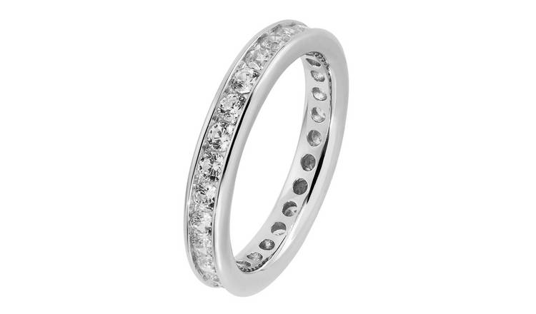 Revere Sterling Silver Cubic Zirconia Full Eternity Ring - Q