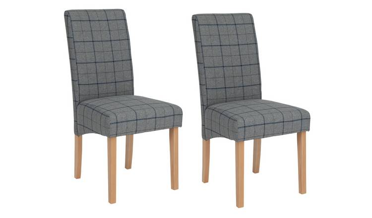 Habitat Pair of Skirted Dining Chairs -Grey & Blue Check