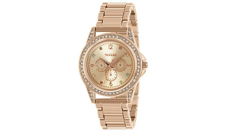 Tikkers Children's Rose Gold Coloured Strap Watch