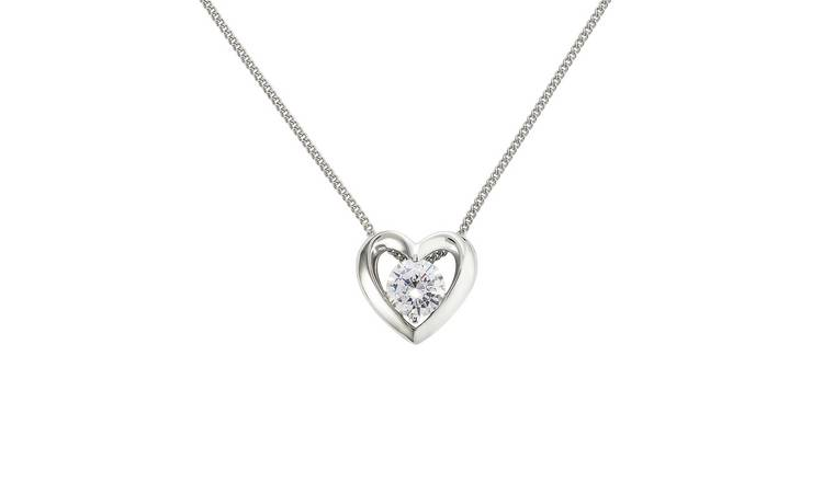 Revere Sterling Silver Open Heart Pendant Necklace