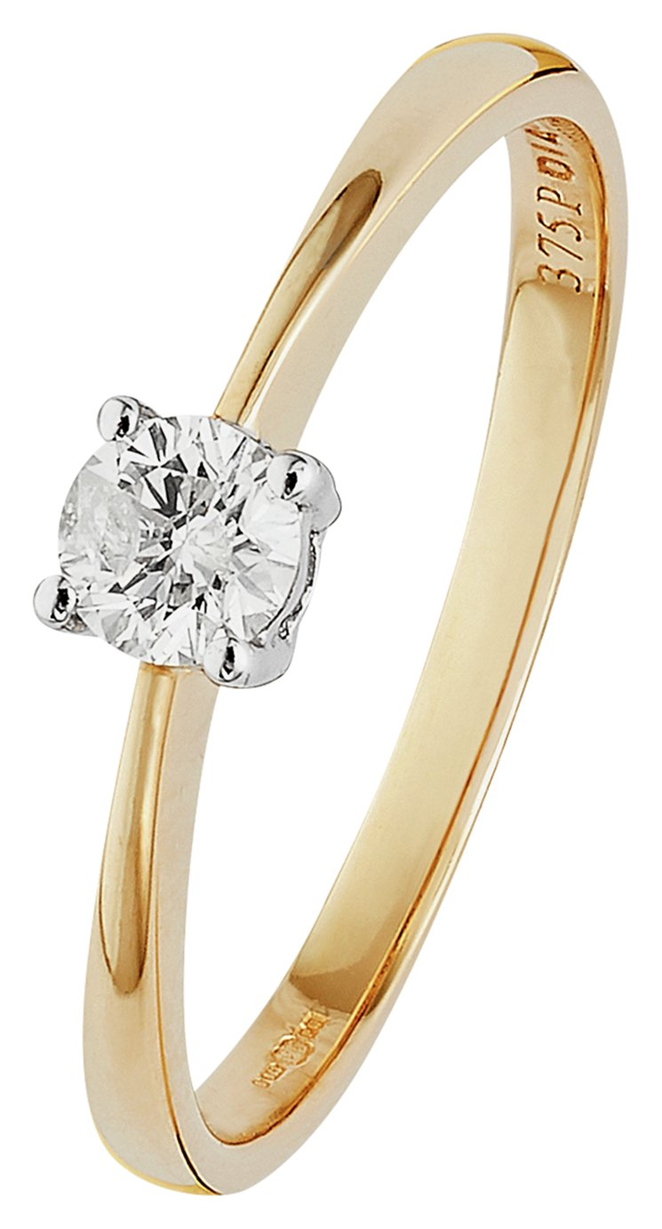 Revere 9ct Gold 0.25ct Diamond Solitaire Ring - N