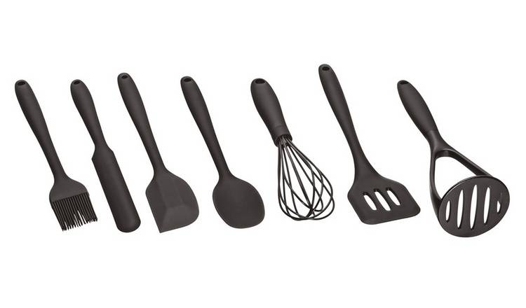 Argos Home Silicone 8 Piece Utensil Set - Black