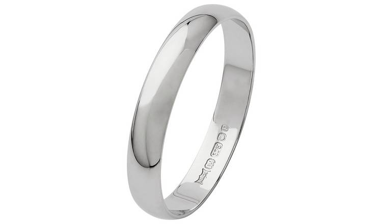 Revere 9ct White Gold D-Shape Wedding Ring - 3mm - U