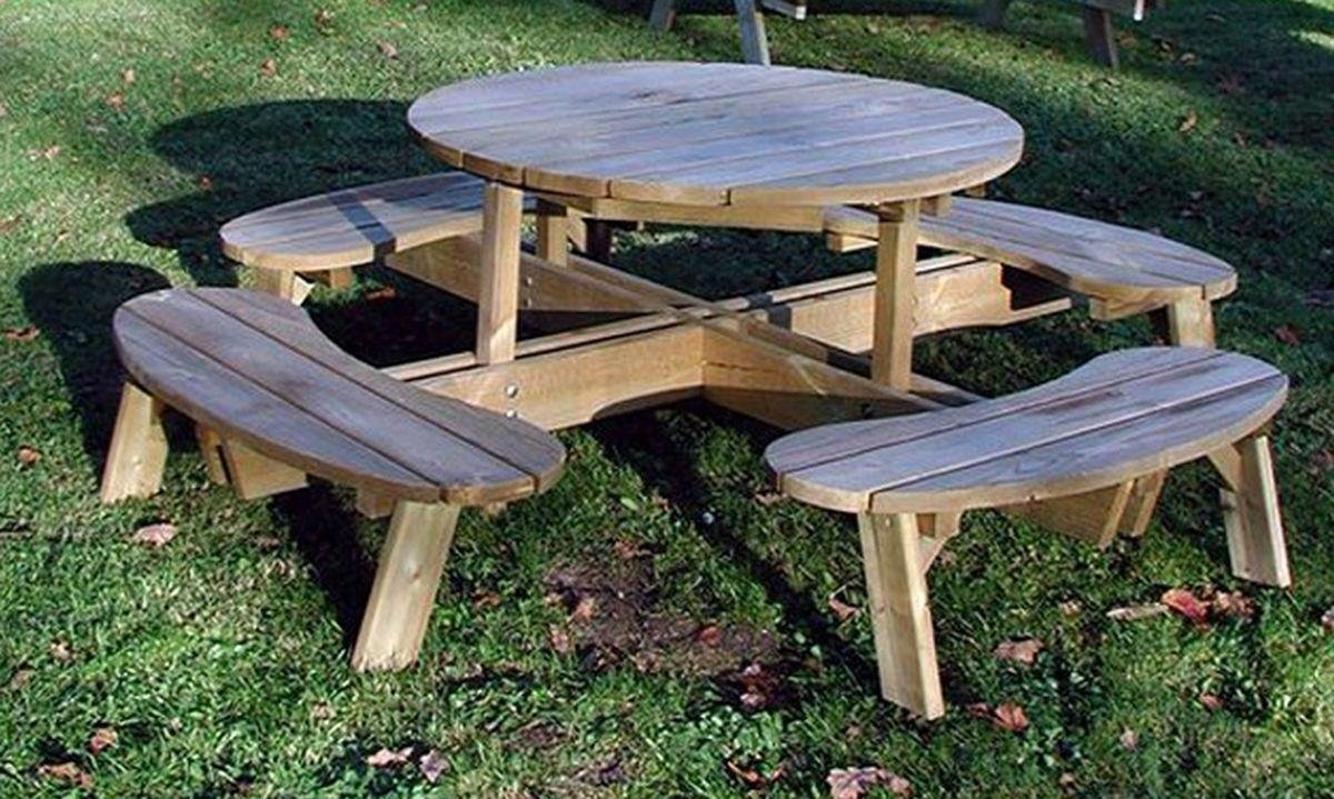 Grange Fencing Round Garden Table with Seats. lowest price