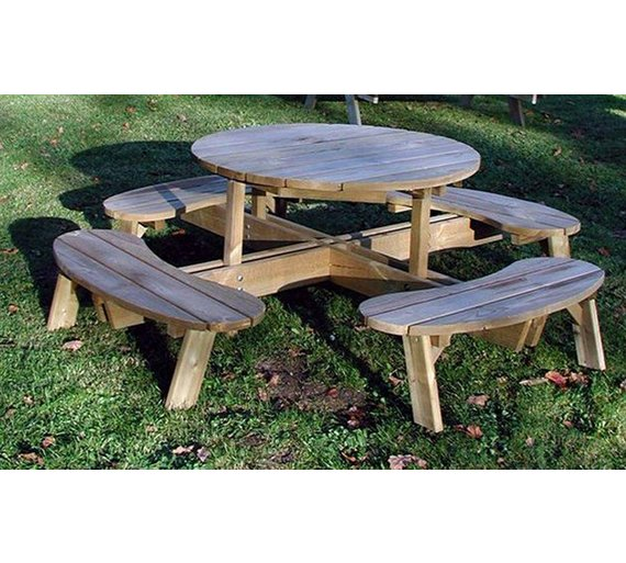 Grange Fencing Round Garden Table with Seats. Buy Grange Fencing Round Garden Table with Seats at Argos co uk