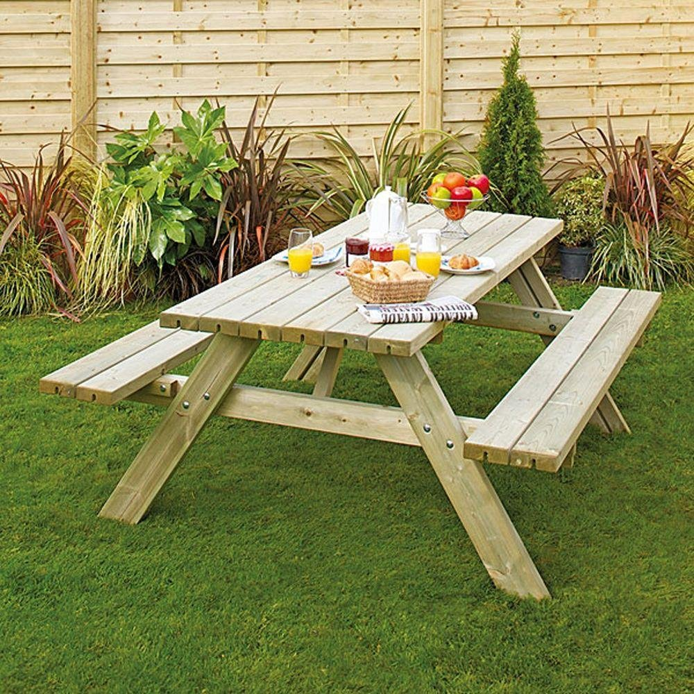 Grange Fencing Oblong Garden Table with Foldable Seats. lowest price