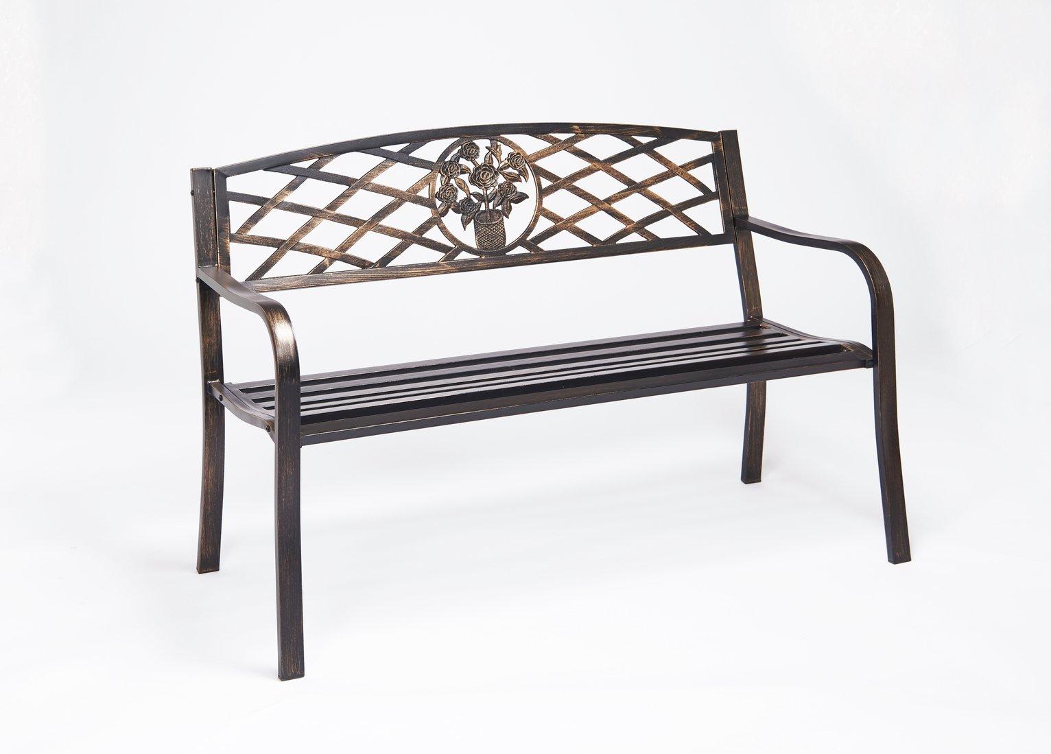 Greenhurst 2 Seater Garden Bench with Cast Iron Back Rest