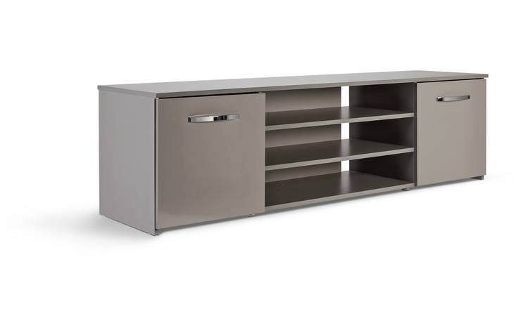 Habitat Hayward 2 Door Wide TV Unit - Grey Gloss