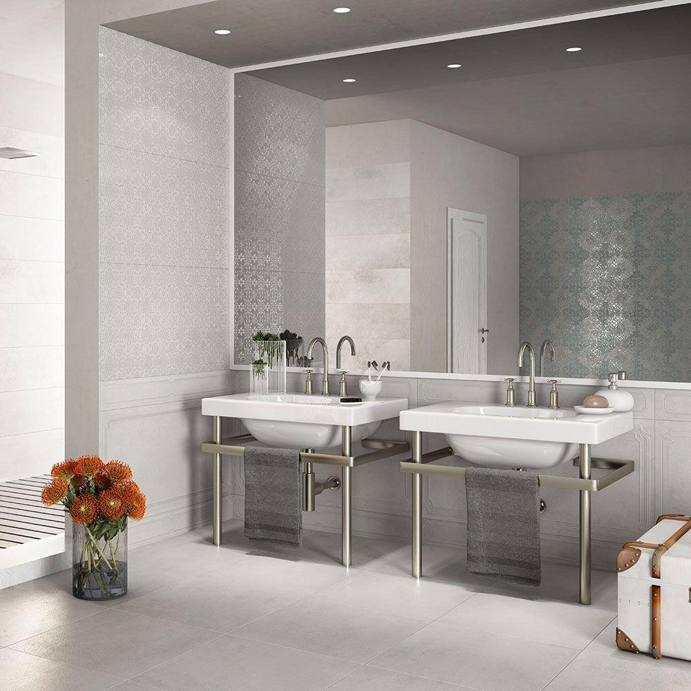 Image of Matt Porcelain Stone Effect Wall and Floor Tile Light Grey - 3 Tiles