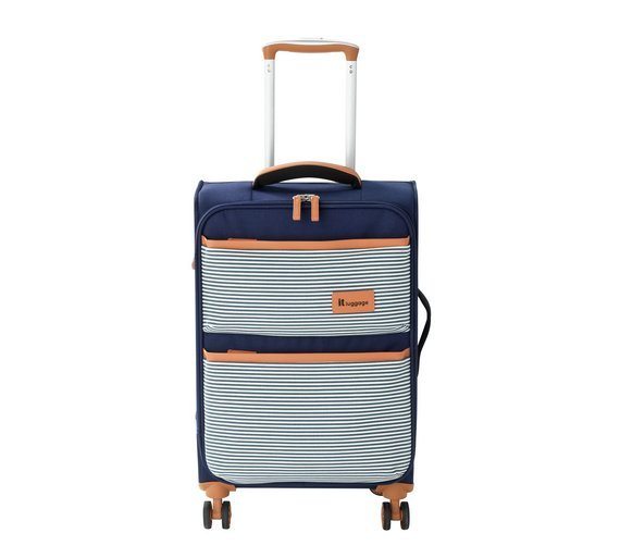 IT Luggage 4 Wheel Lightweight Soft Cabin Case - Nautical