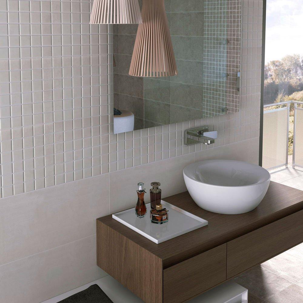 Image of Porcelain Concrete Effect Floor Tile - White - 5 Tiles Per Box