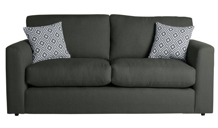 Argos Home Cora 3 Seater Fabric Sofa - Charcoal
