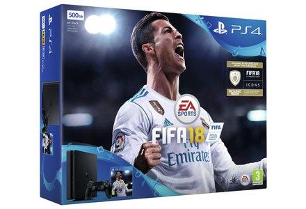 PS4 Slim Black 500GB Console  Bundle with FIFA 18