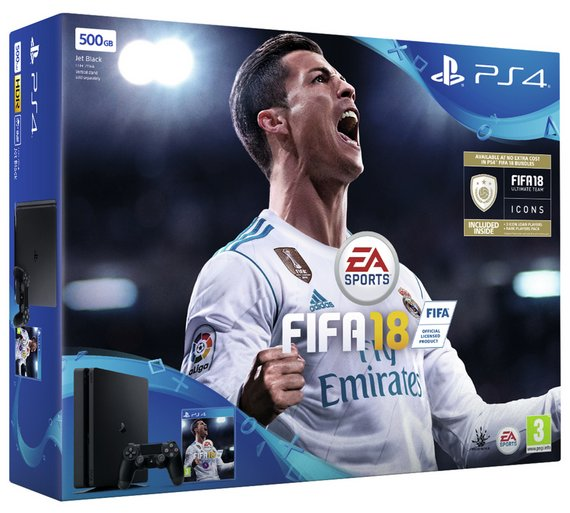 PS4 Slim Black 500GB Console Bundle with FIFA 18