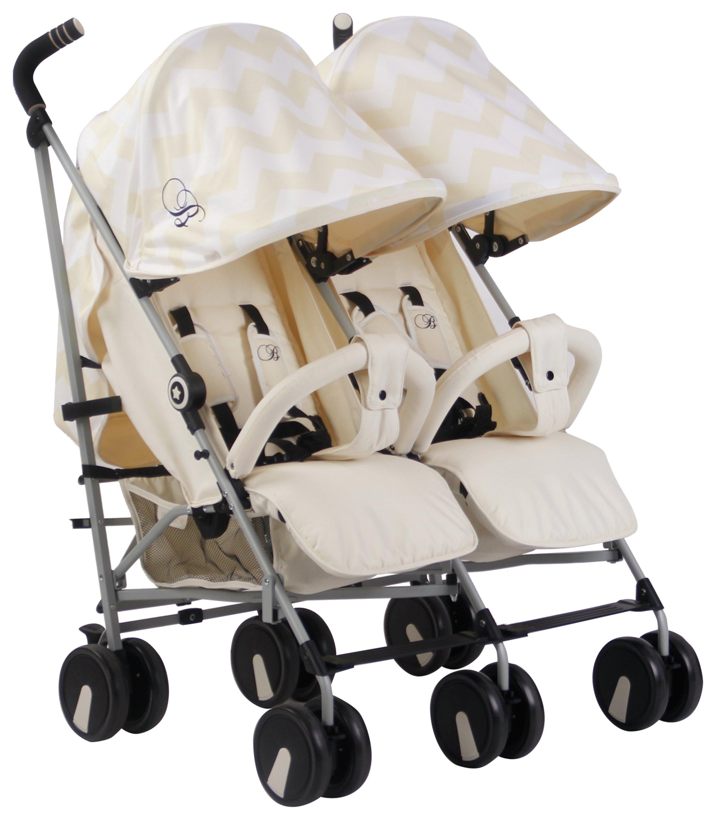 My Babiie Billie Faiers MB22 Chevron Twin Pushchair - Cream