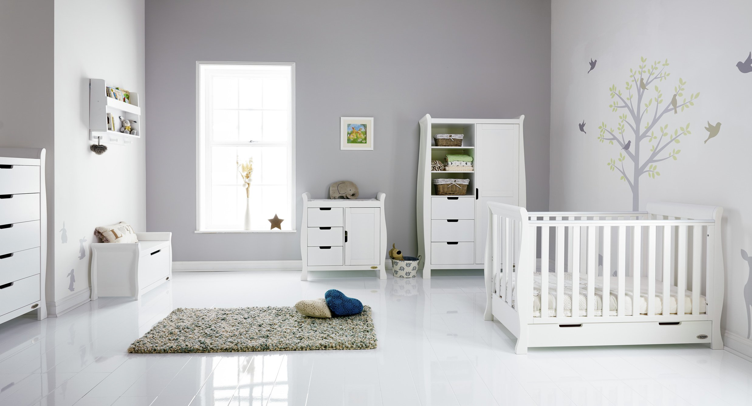 Image of Obaby Stamford Mini Sleigh 5 Piece Room Set - White
