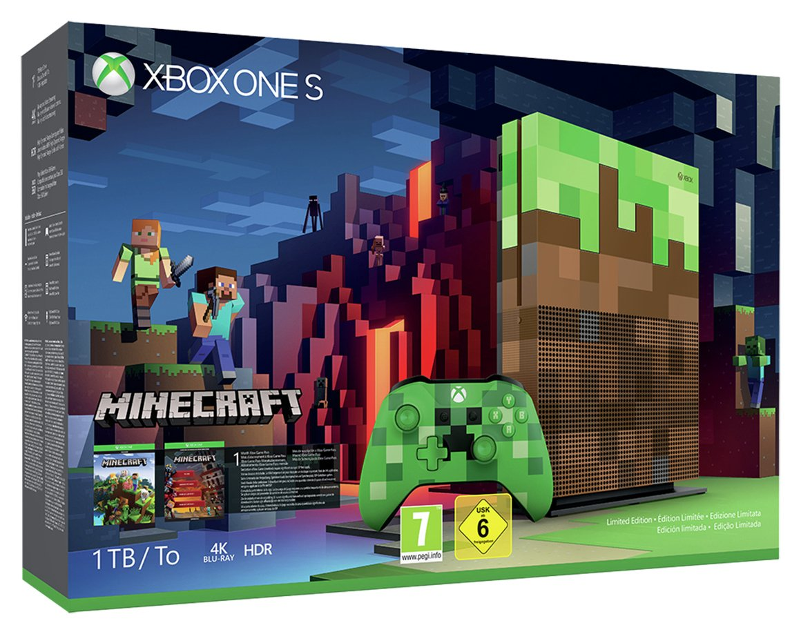 Xbox One S 1TB Limited Edition Minecraft Console Bundle