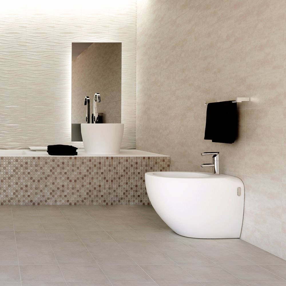 Image of Ceramic Matt Wall Mosaic Tile - Beige