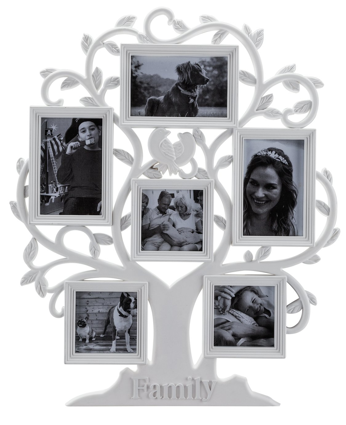 Image of HOME 6 Print Family Tree Photo Frame - White