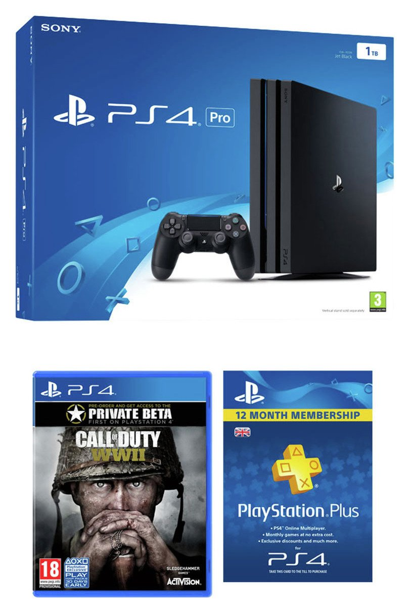 PS4 Pro console with Call of Duty WWI & PS Plus Pre-Order