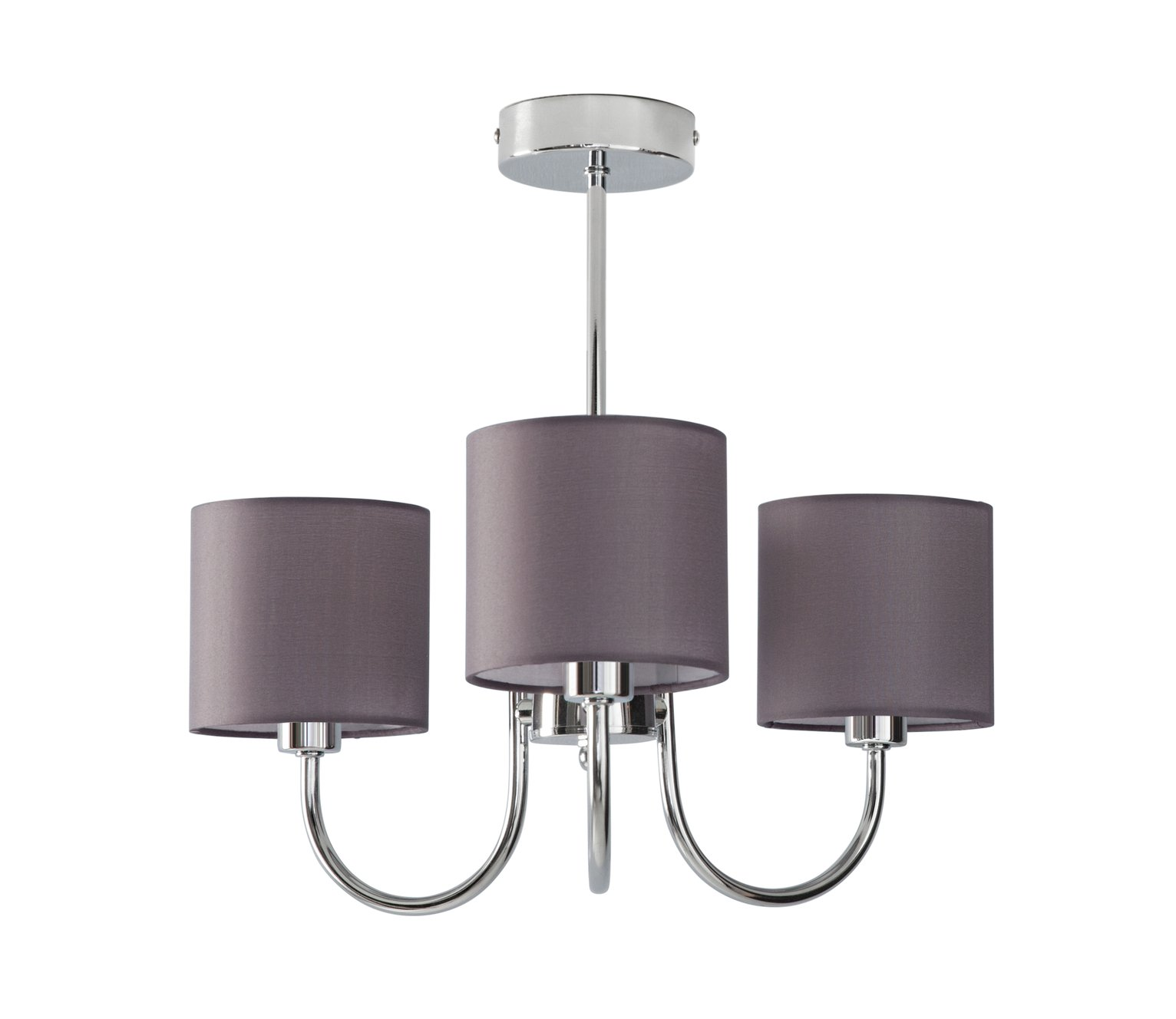 Collection Grays 3 Light Ceiling Fitting - Chrome & Grey