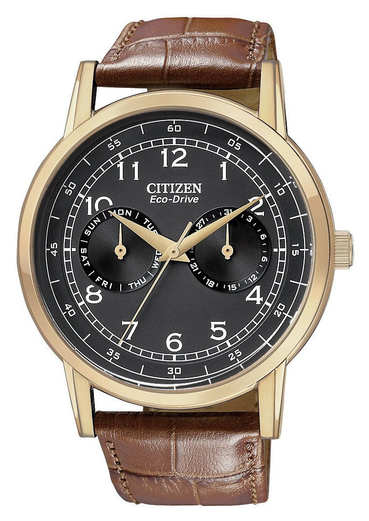 Image of Citizen Men's Eco-Drive Multi Dial Tan Strap Watch