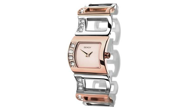 Seksy Ladies Rose Gold Plated Two Tone Watch