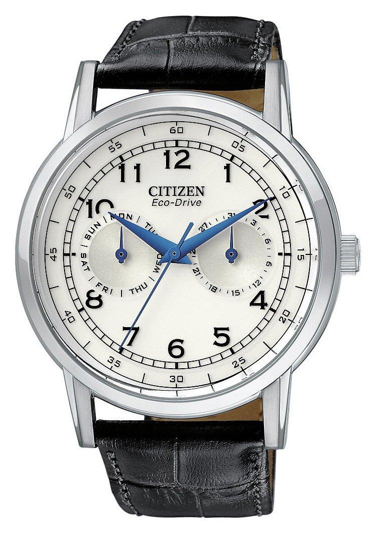 Citizen Eco-Drive Men's Black Leather Strap Multi Dial Watch