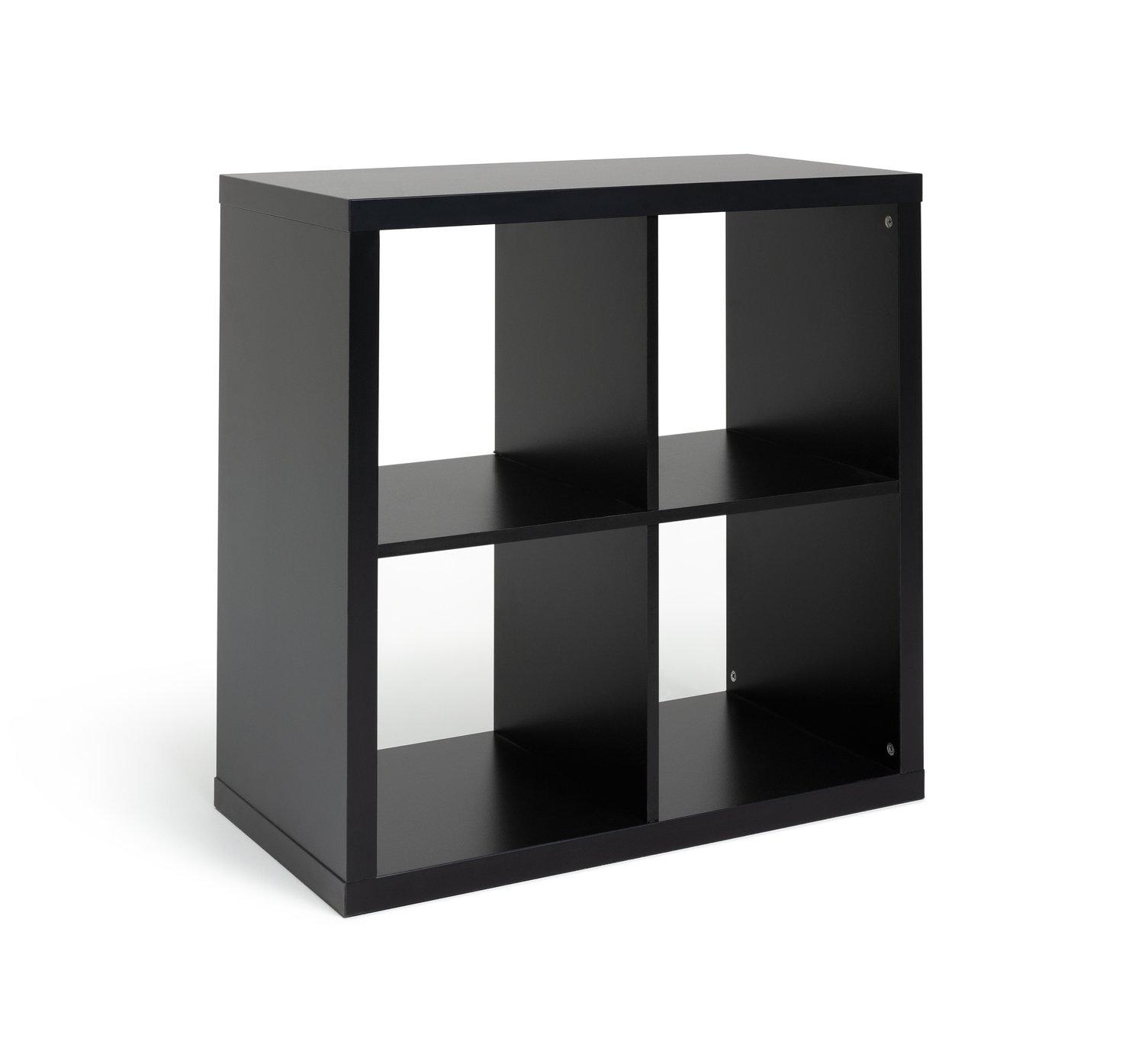 Hygena Squares Plus 4 Cube Storage Unit - Black at Argos
