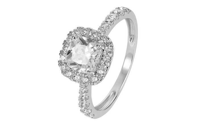 Revere 9ct White Gold Cushion Cut Cubic Zirconia Halo Ring-U