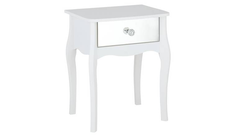 Argos Home Amelie 1 Drawer Mirrored Bedside Table - White