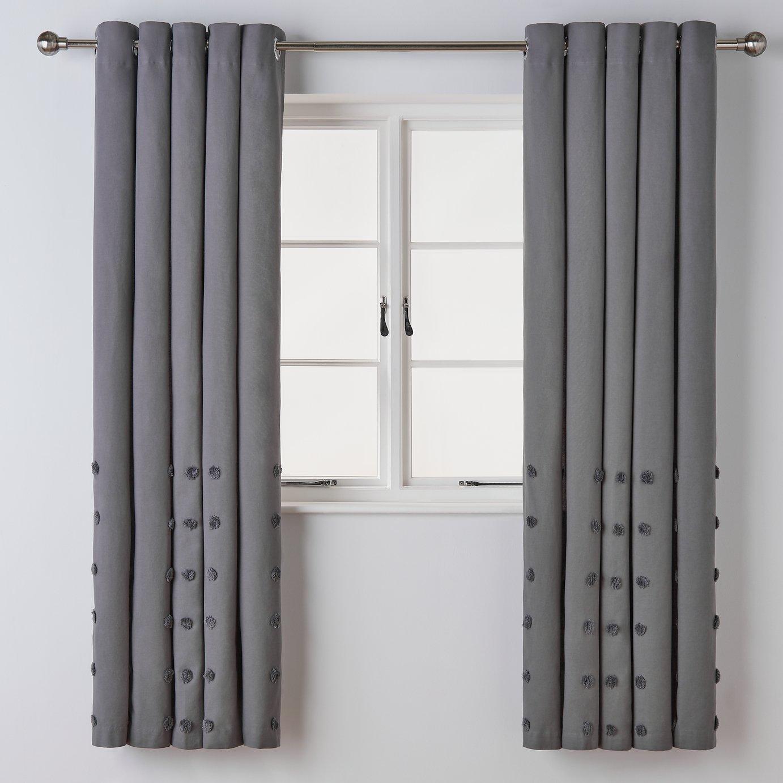 "BNWT Argos Home lined eyelet curtains grey striped  66/"" x 72/"""