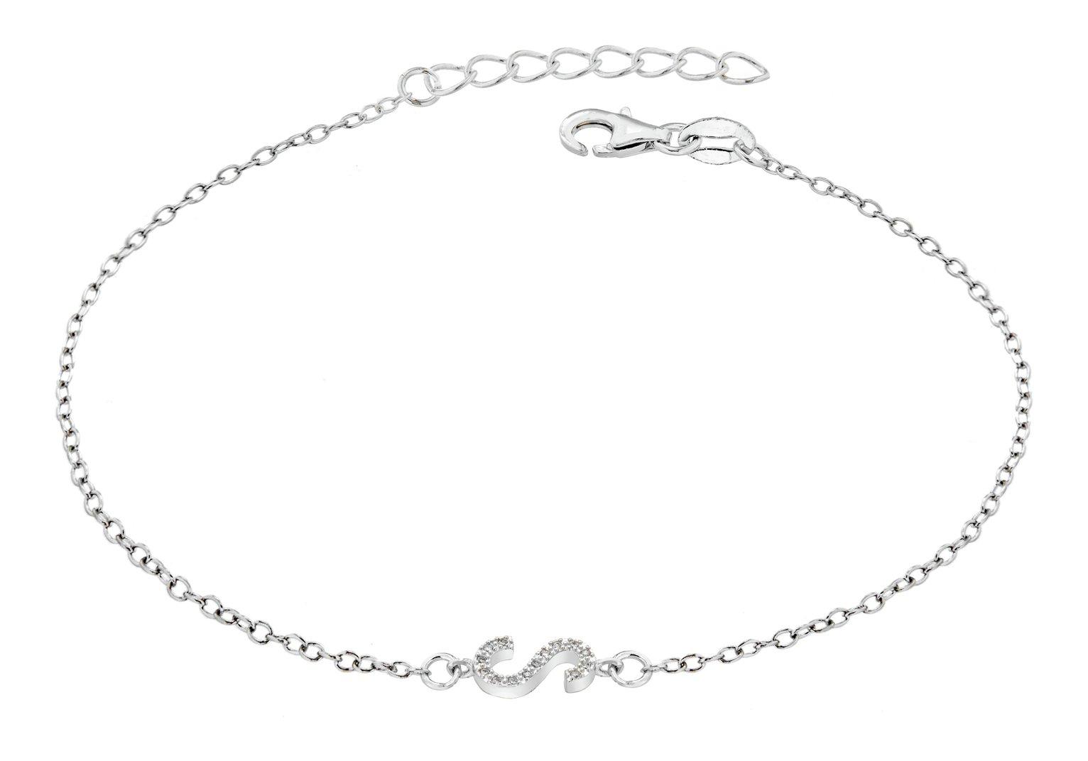 Sterling Silver Cubic Zirconia Initial Bracelet - S