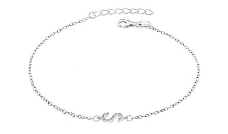 Sterling Silver Cubic Zirconia Initial Bracelet - S