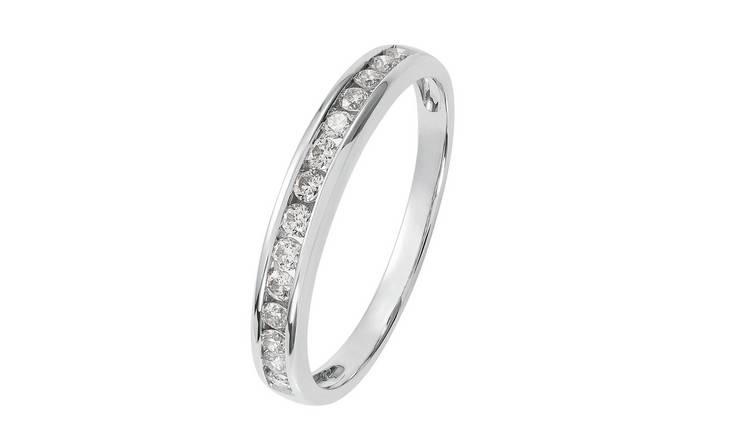Revere 9ct White Gold Diamond Channel Set Eternity Ring -L
