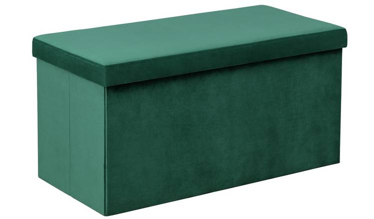 Argos Home Medium Velvet Ottoman - Green