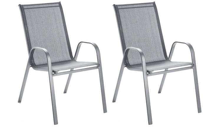 Argos Home Sicily Metal Pack of 2 Stacking Chairs - Grey