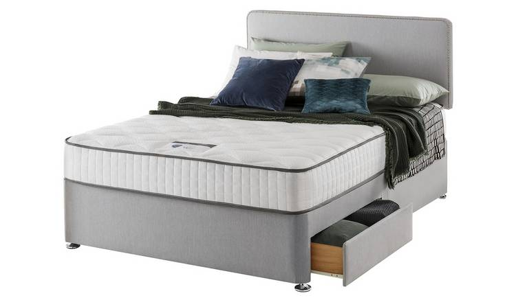 Silentnight Pavia Memory 2 Drawer Grey Divan - Small Double