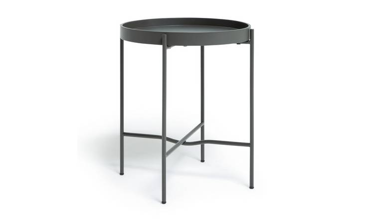 Habitat Metal Circular Bedside Table - Dark Grey